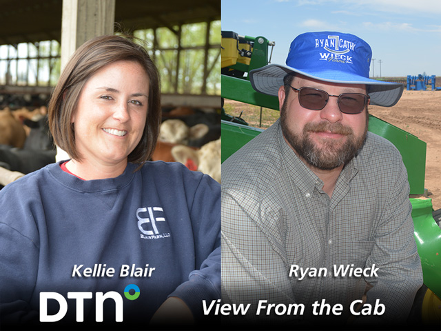 Farmers Kellie Blair of Dayton, Iowa, and Ryan Wieck, of Umbarger, Texas, are reporting on crop conditions and agricultural topics throughout the 2021 growing season as part of DTN's View From the Cab series. (DTN photos by Greg Horstmeier and Matthew Wilde)