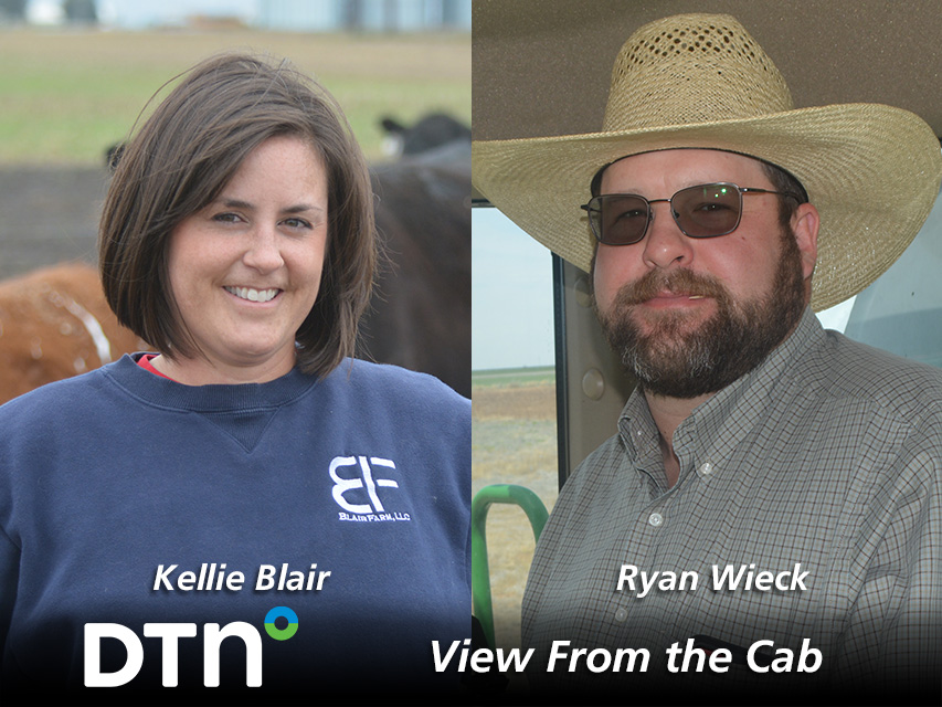 Farmers Kellie Blair of Dayton, Iowa, and Ryan Wieck, of Umbarger, Texas, are reporting on crop conditions and agricultural topics throughout the 2021 growing season as part of DTN's View From the Cab series. (DTN photos by Matthew Wilde and Greg Horstmeier)
