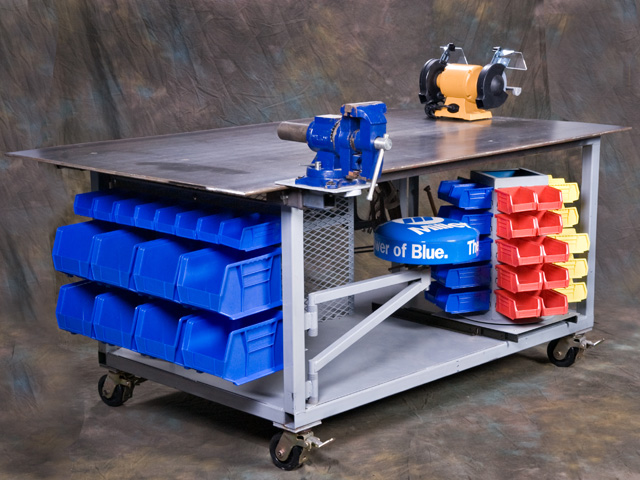 Looking around at other welding tables, we designed this one with all the extras. It's 850 pounds and has lots of storage. (DTN photo by Rob Lagerstrom)